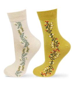 beige und gelbrüne Socken im Set