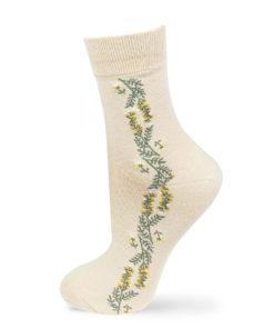 beige Socken mit Blumenstreifen