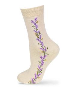 Socken beige mit Blumenstreifen