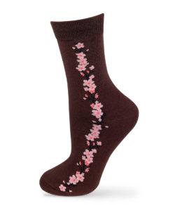 Socken mit Blumen in braun