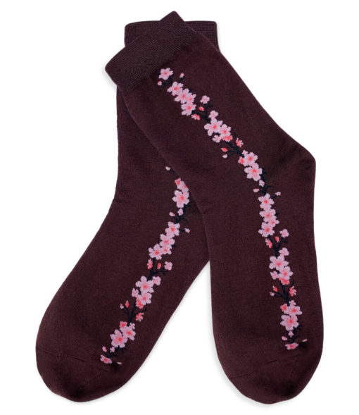 Socken braun mit Blumenstreifen