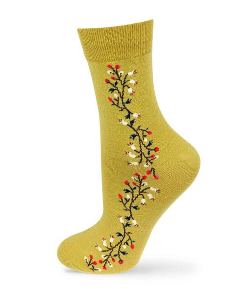 Socken gelbgrün mit Blumenstreifen