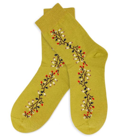 Socken - gelbgrün - Blumenstreifen