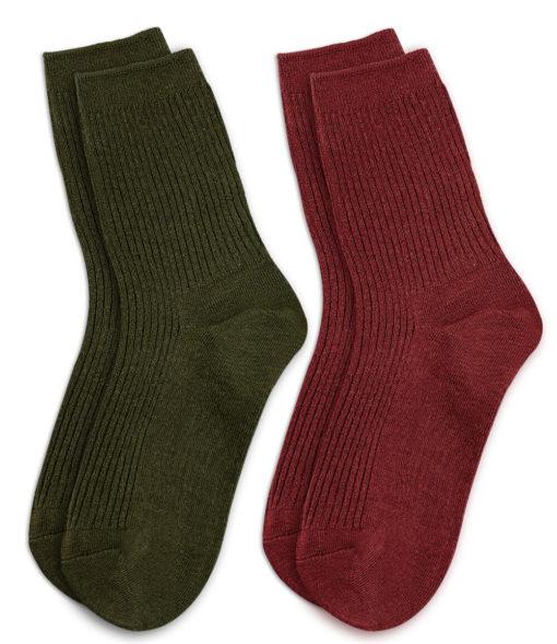 2er Set Socken khaki und rotbraun
