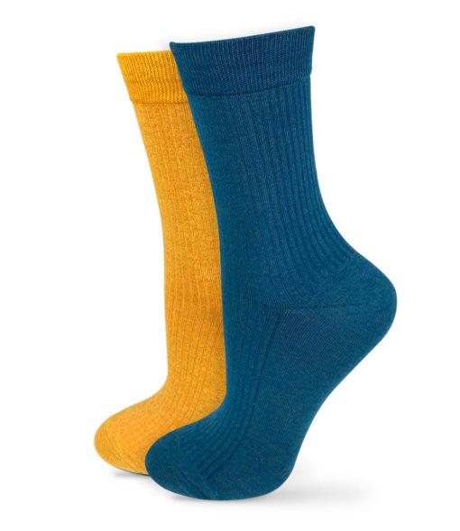 blaue und gelbe Socken im Set