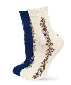Socken Set beige und marineblau mit Blumenstreifen