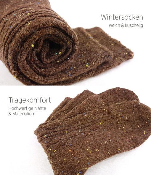 warme Socken braun