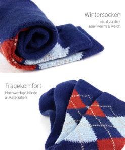 blaue warme Socken Karos
