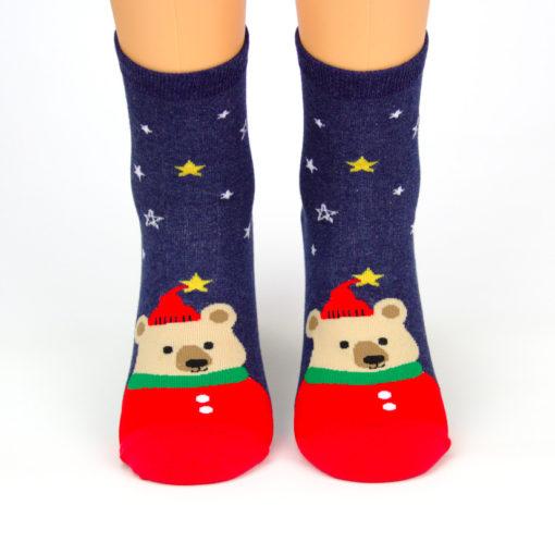 Motivsocken Weihnachtsbär