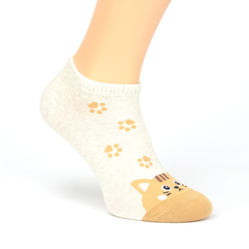 Katze Socken beige