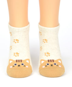 Sneaker-Socken Katze braun