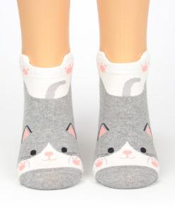 Katzesocken grau weiß