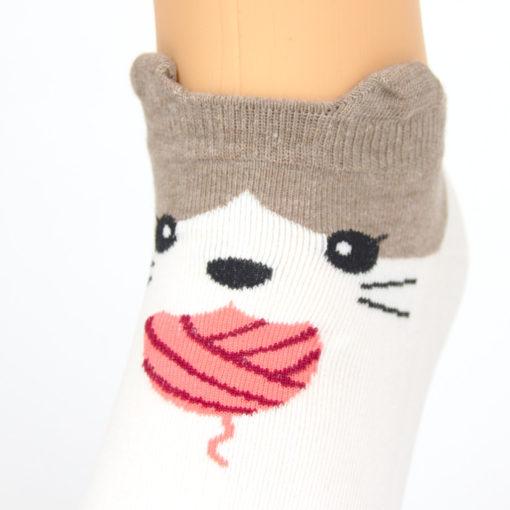 Socken Wollknoll Katze