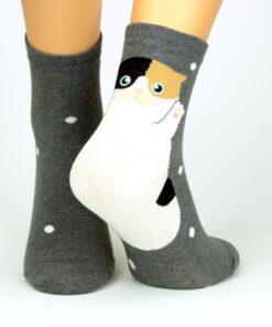 gescheckte Katze Socken